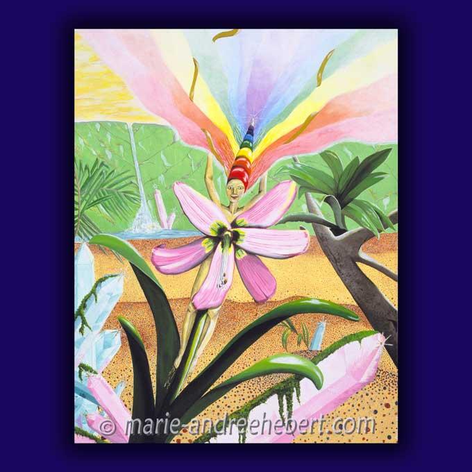 symphonie de joie, elfe, nature, peinture, cristaux, fleur