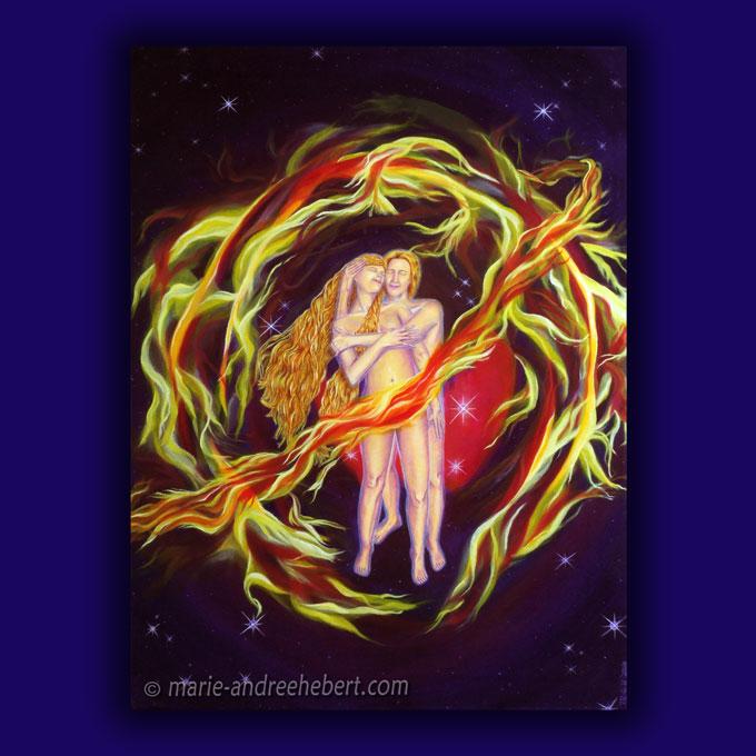 Peinture d'un couple solaire unis par un amour intemporel dans un espace intemporel à travers l'espace temps