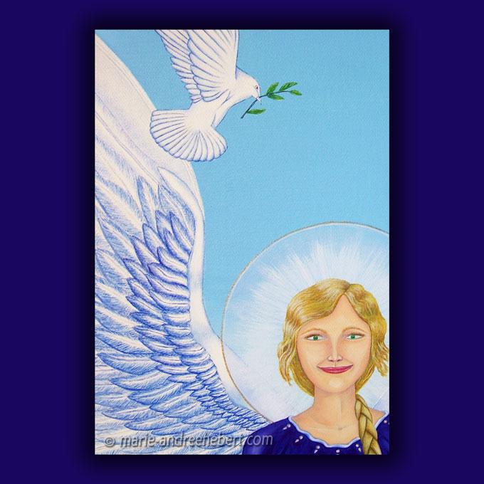 Détails d'une peinture de la tête d'un ange de la paix et de son auréole d'une grande pureté.