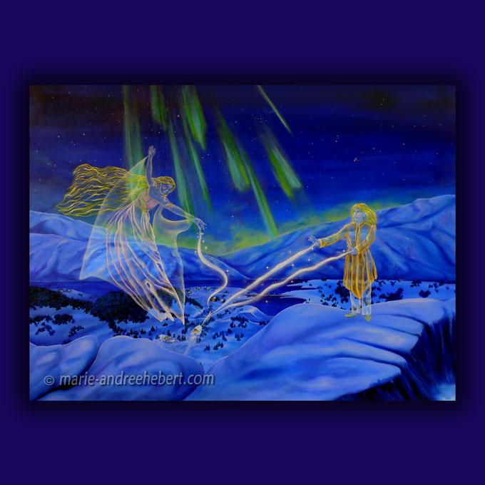 Deux anges gardiens veillent sur une être dans une vallée ou deux anges gardiens veillent sur une nouvelle naissance dans une maison dans une vallée enneigée