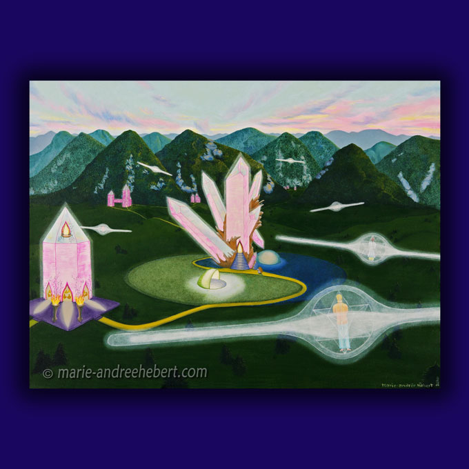 Peinture de plusieurs êtres s'élevant à travers leur merkaba dans un paysage futuriste ou d'un autre monde fait de bâtiments en quartz entourée de montagnes.
