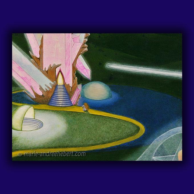 Détails d'une peinture de plusieurs êtres s'élevant à travers leur merkaba dans un paysage futuriste ou d'un autre monde fait de bâtiments en quartz entourée d'une chaîne de montagnes.
