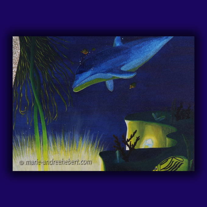 épanouissement détails, dauphins, océan, mer, lumière, lotus, cristaux, quartz