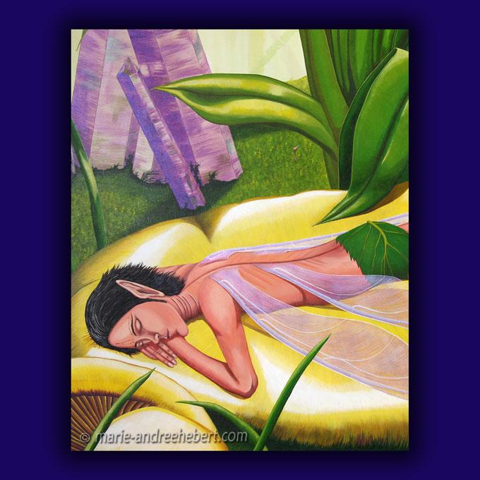 Détails d'une peinture dont un elfe masculin qui dort paisiblement sur un énorme champignon.