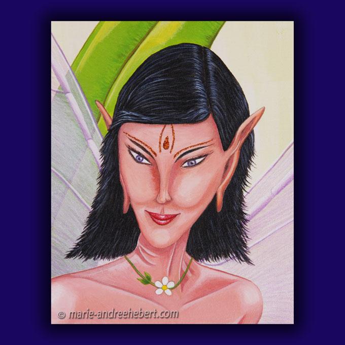 Détails d'une peinture dont une elfe féminine et espiègle qui se cache derrière du feuillage.
