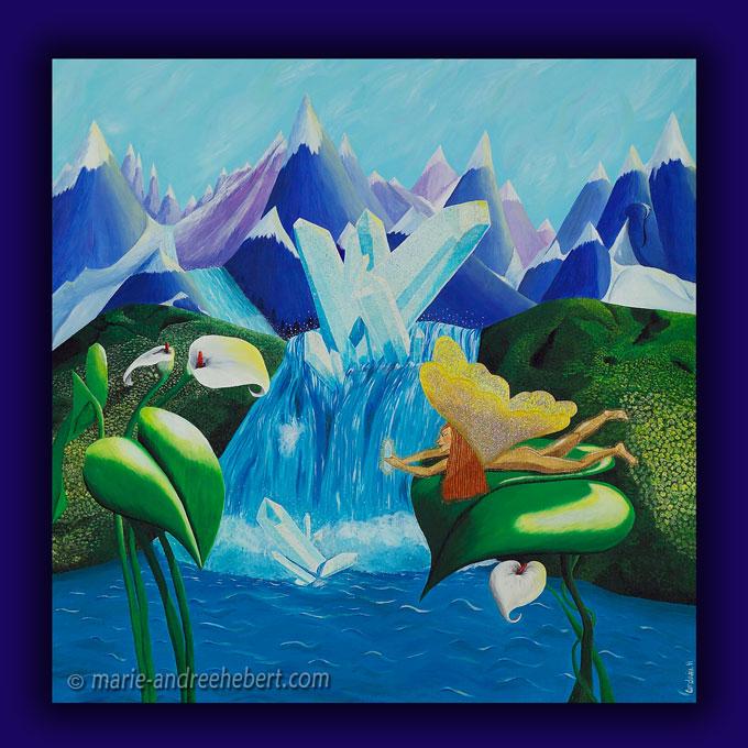 pureté, elfe, cristaux, montagnes, chutes, fleurs, peinture