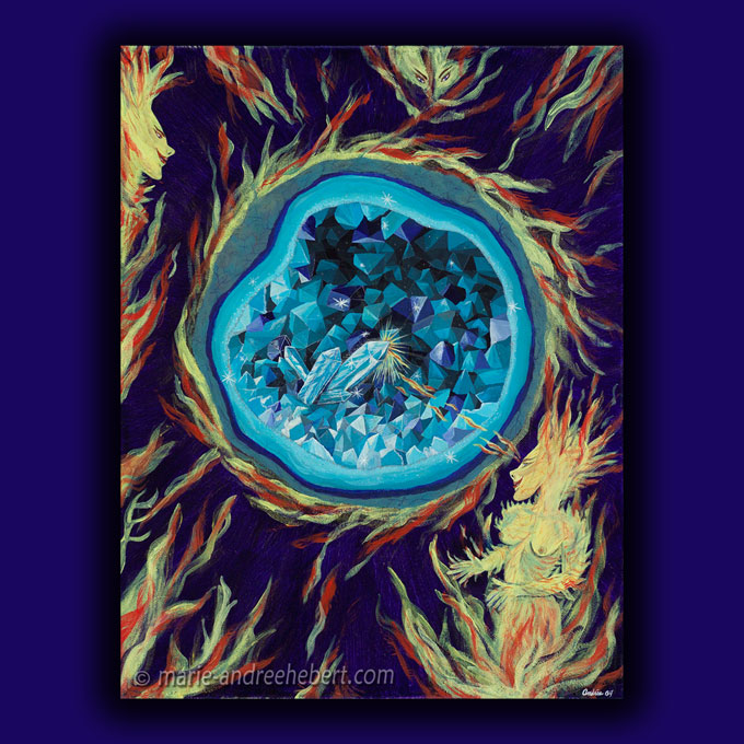 symbiose, peinture, Marie-Andrée, Hébert, cristaux, salamandre, agathe, énergie